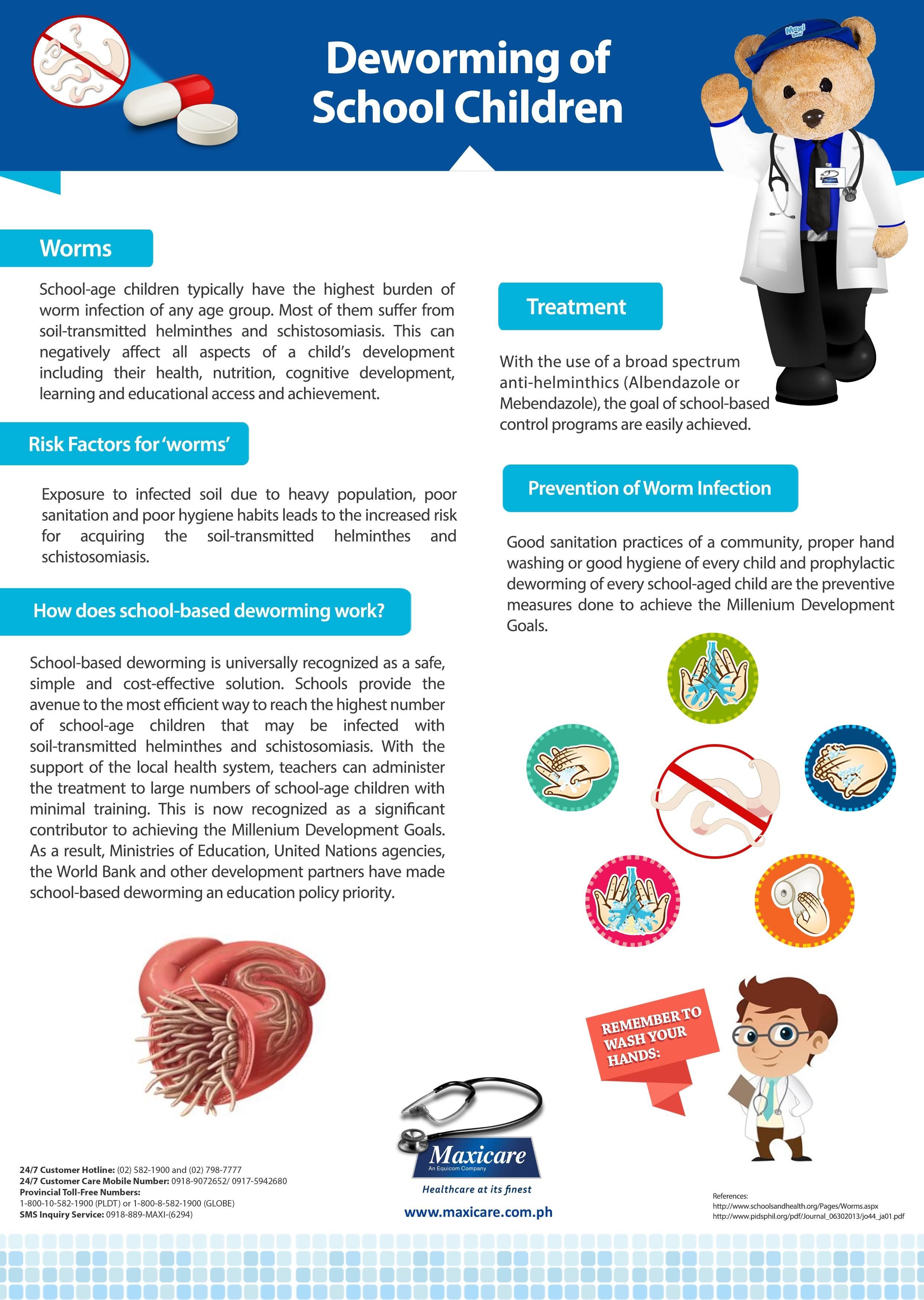 What should be the prophylaxis of worms in a child