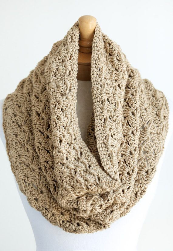 Soft Crocheted Infinity Scarf Crochet Eternity Scarf Or Snood Cowl