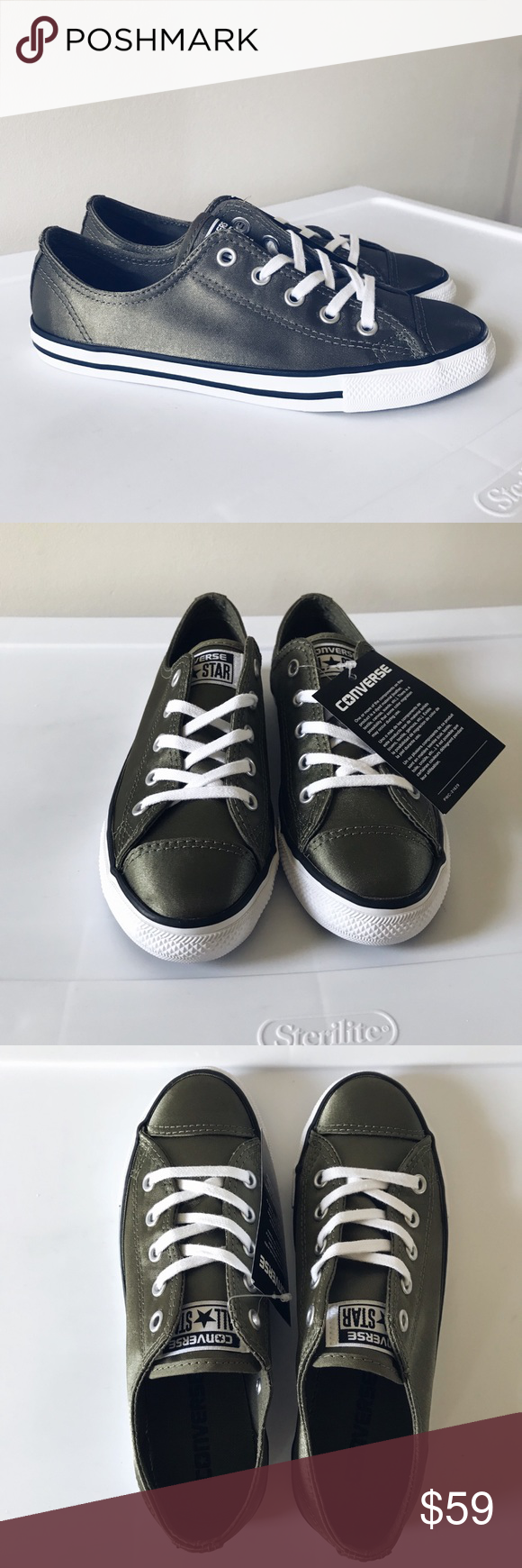 Converse Satin Olive Green Dainty Low Tops NWT Brand new with box Converse  olive green satin dainty low top sneakers. Women s Size 5 Ships Double  Boxed Pet ... f0c7ee911