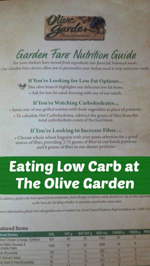 Low Carb Olive Garden Menu in 2018   LCHF!!   Pinterest   Oliva ...