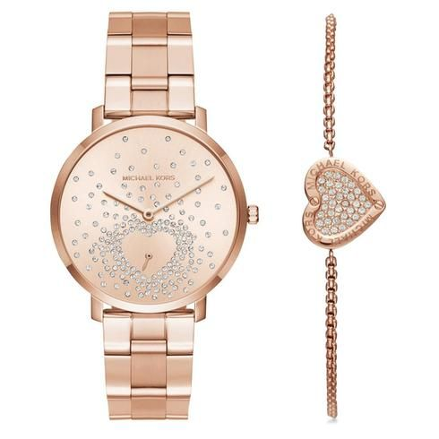 Ladies Michael Kors Jaryn Rose GoldTone Watch and Bracelet Set
