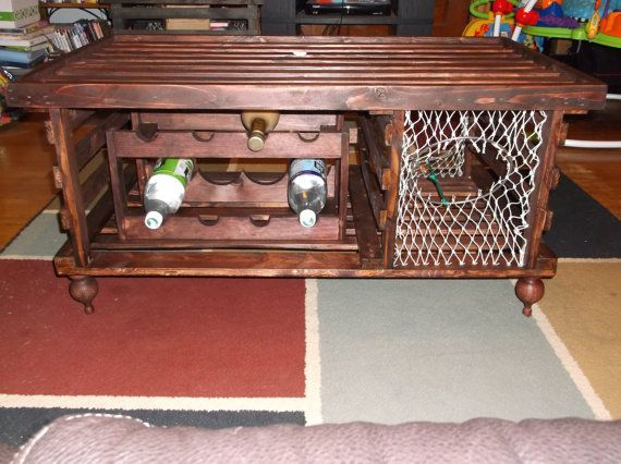 Lobster Trap Coffee Table Wine Rack Made In Maine On Etsy 350 00