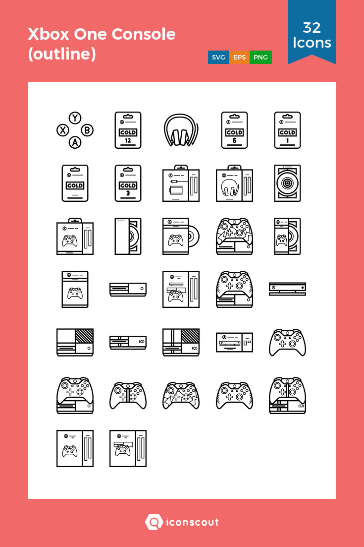 Download Xbox One Console (outline) Icon pack Available