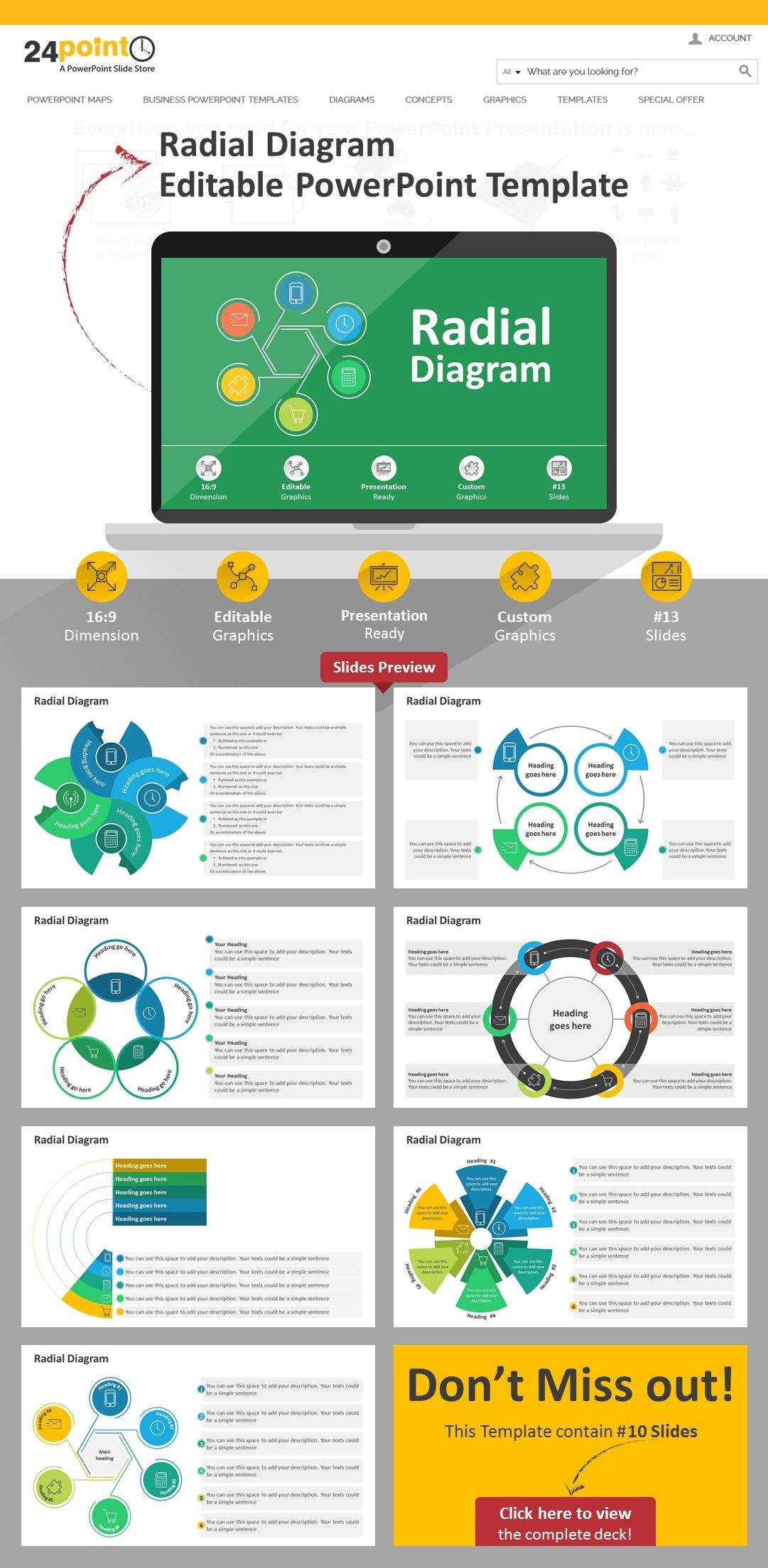 Use this editable radialdiagram powerpoint template to present use this editable powerpoint template to present unlimited business and management ideas the deck contains 13 editable slides of radial diagrams with text toneelgroepblik Gallery