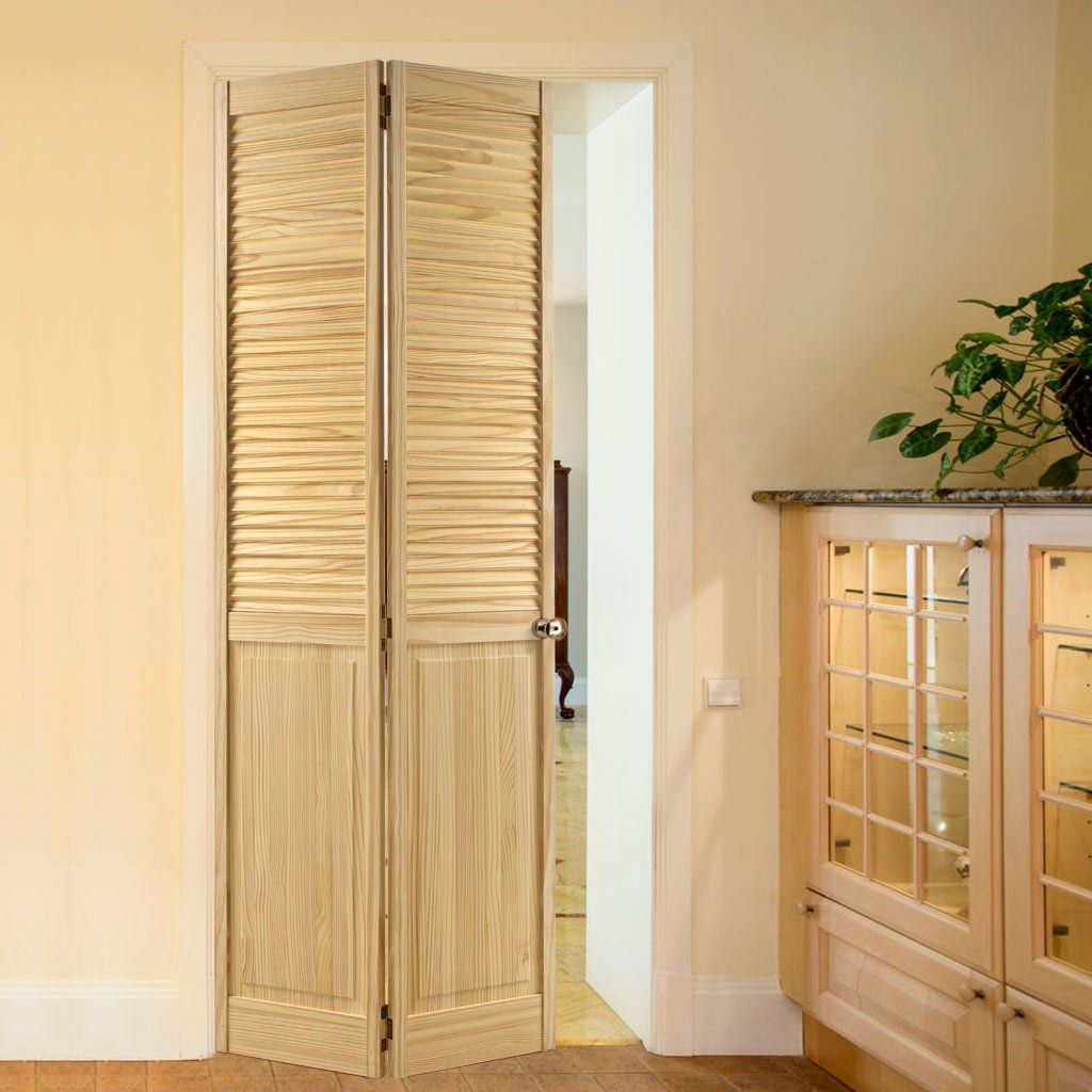 This Clear Pine 2 Panel Louvre Bifold Door Is An New Variation Of A Bifold Doors Louvre Doors Panel Doors