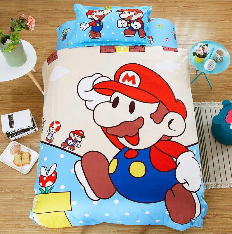 Twin Queen Size Super Mario Luigi, Mario Bed Sheets Queen