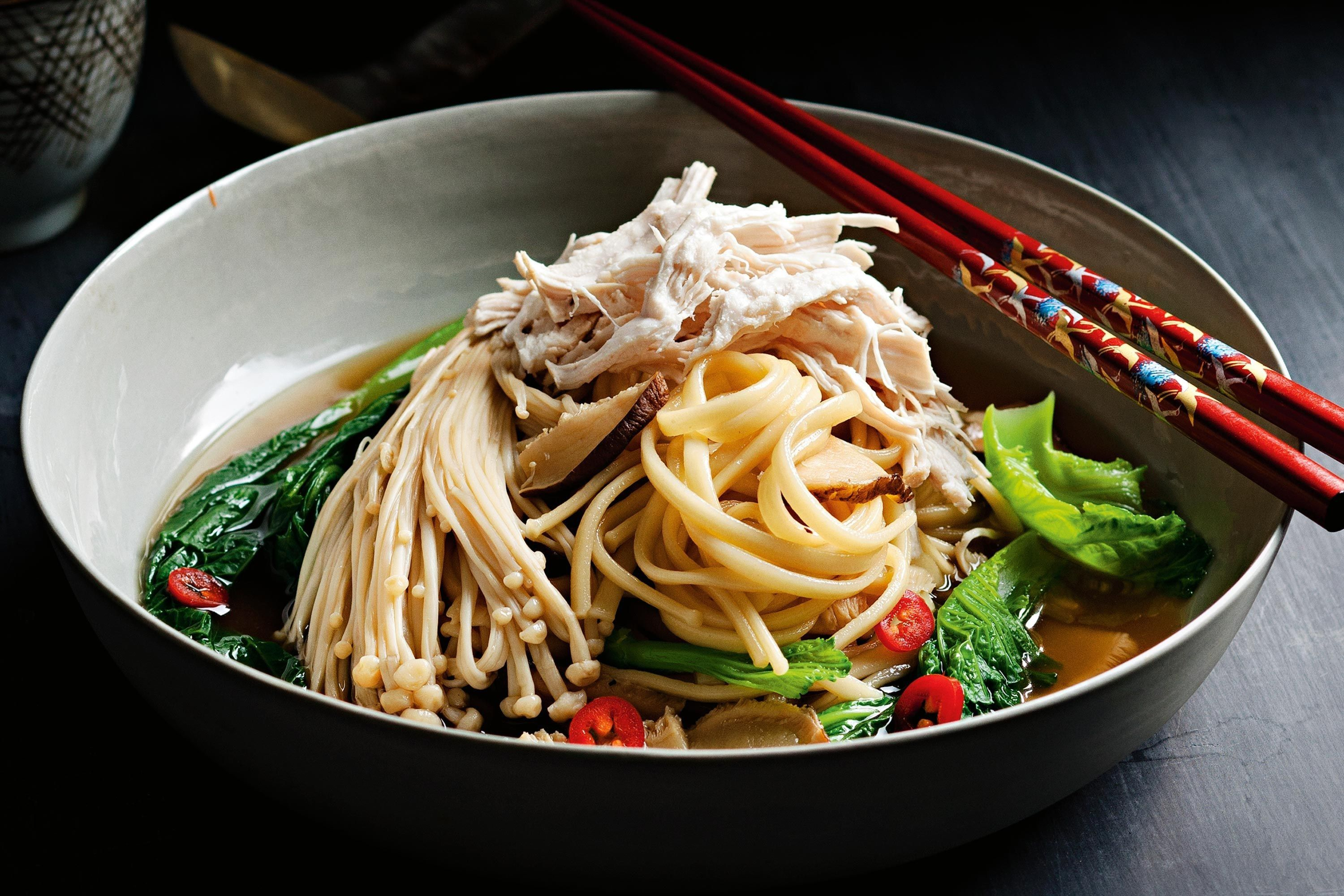 The chicken in this dish is lightly poached in sake, soy and sugar for an authentic Japanese flavour.
