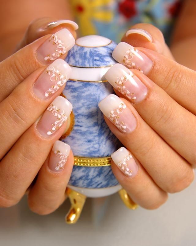 hochzeitsn gel french design schlicht gold floral nails. Black Bedroom Furniture Sets. Home Design Ideas