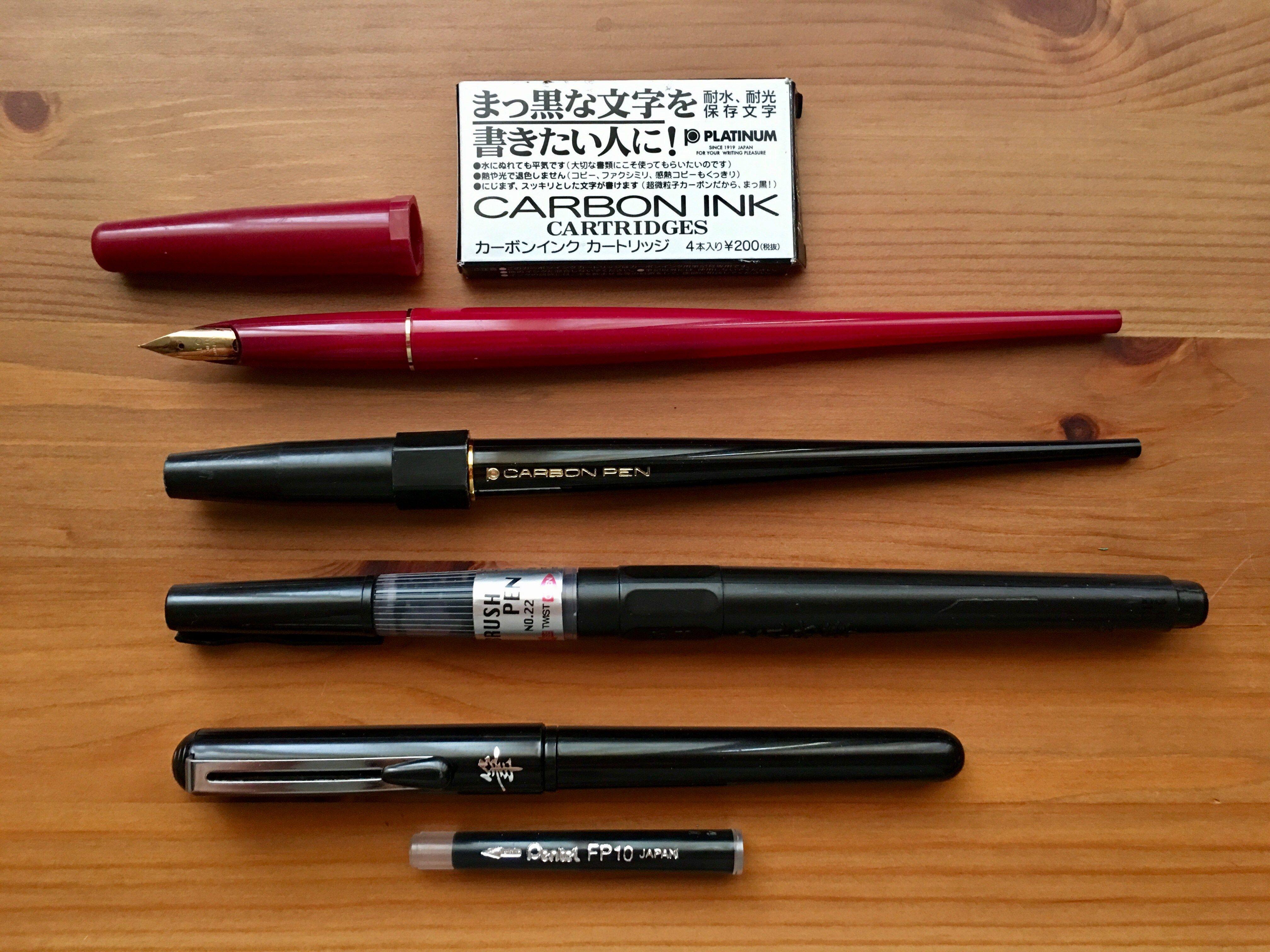 Platinum Carbon Desk Fountain Pen Pilot Zig Cartoonist Brush No 22 Pentel Waterproof Ink