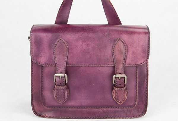 Handmade purple vintage leather Satchel Bag crossbody Shoulder Bag for