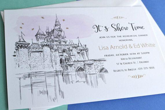Disneyland Fairytale Cinderella S Castle Wedding Hand Drawn
