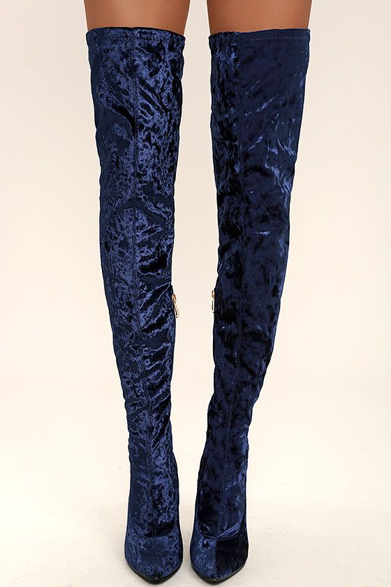 cab26589abe Julia Royal Blue Velvet Thigh High Boots | Shoes | Velvet thigh high ...