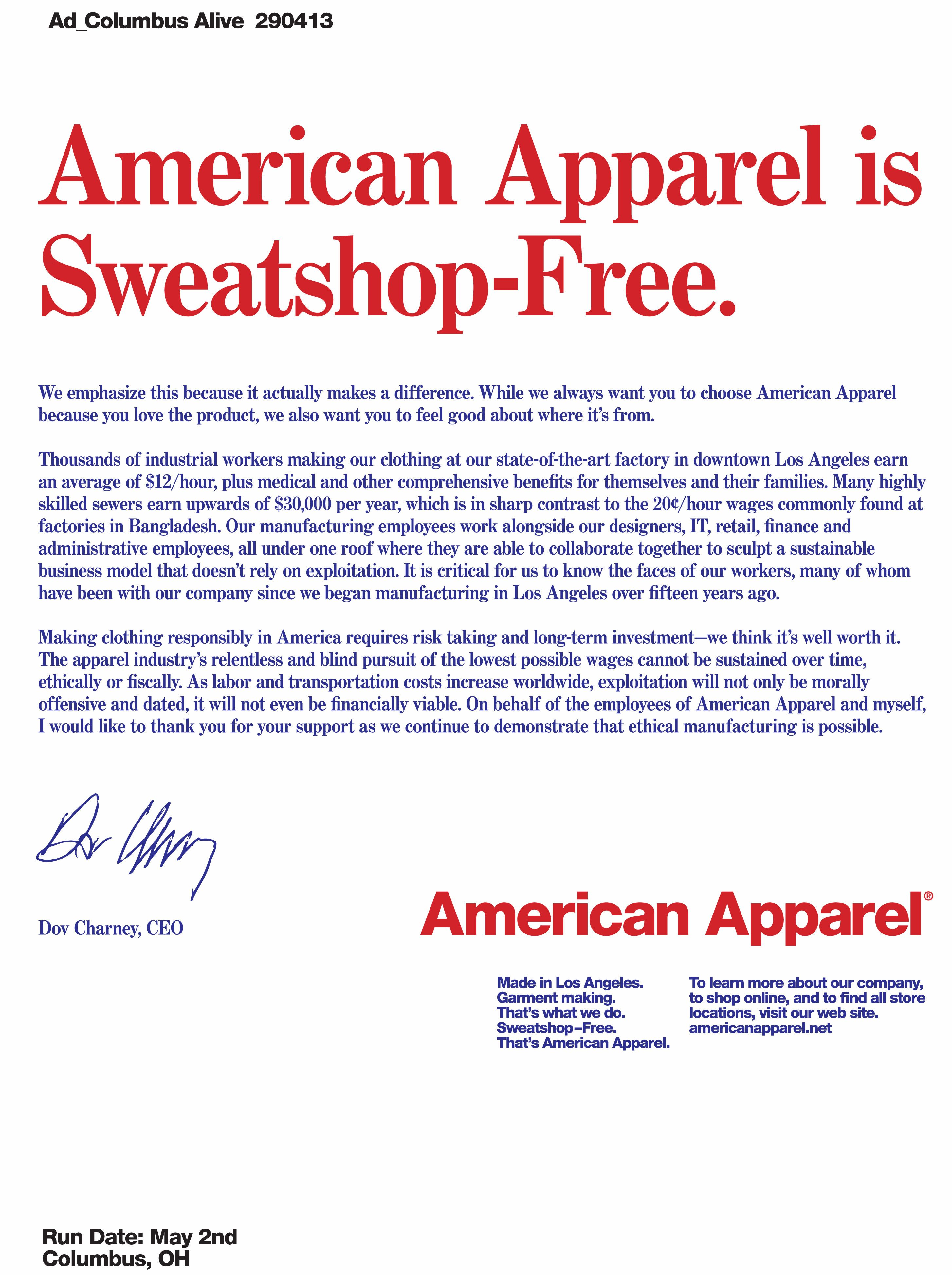 new concept 02ba0 1f9fa American Apparel is Sweatshop Free!