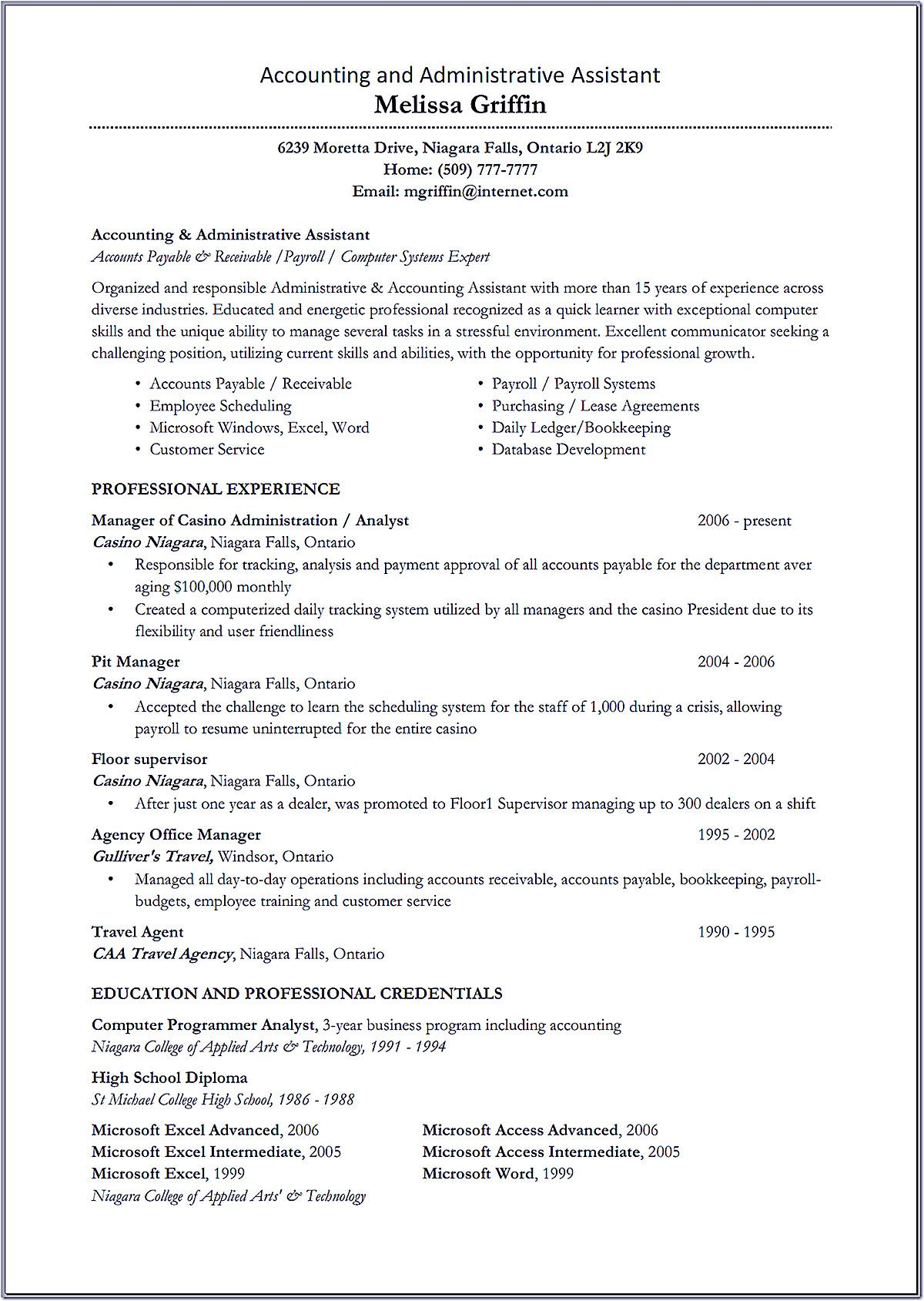 whether or not accounting assistant resume can be