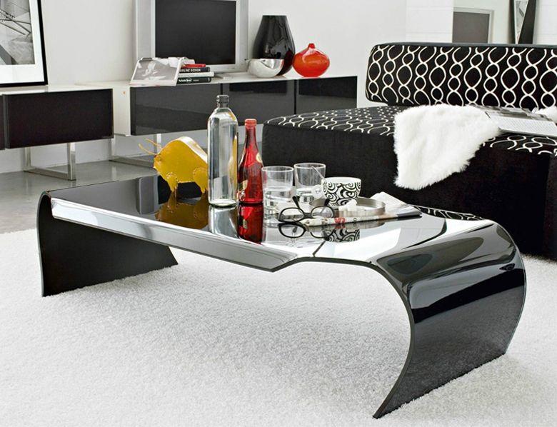 Table Basse Curve En Verre Courbe 12 Mm Noir Laque Table Basse