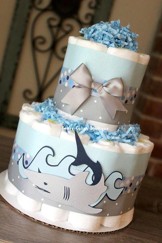 2 Tier Shark Diaper Cake Boy Baby Shower Blue Navy Gray Baby