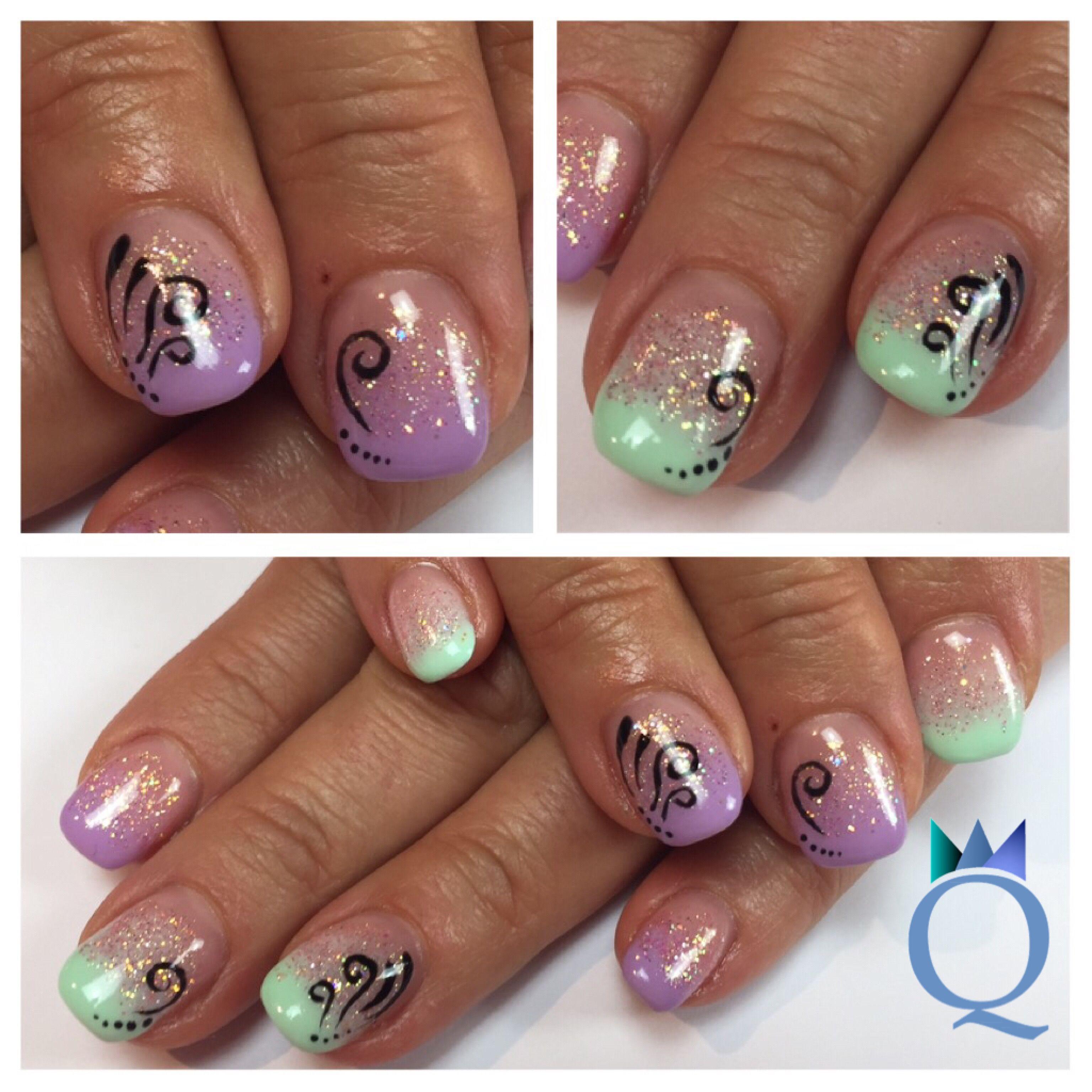 shortnails #gelnails #nails #mint #lilac #ombre #glitter ...
