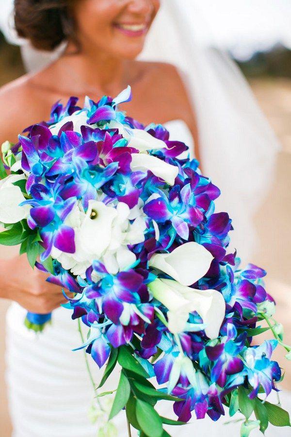 Elegant Cobalt Blue Kauai Island Wedding | Pretty Wedding Bouquets ...