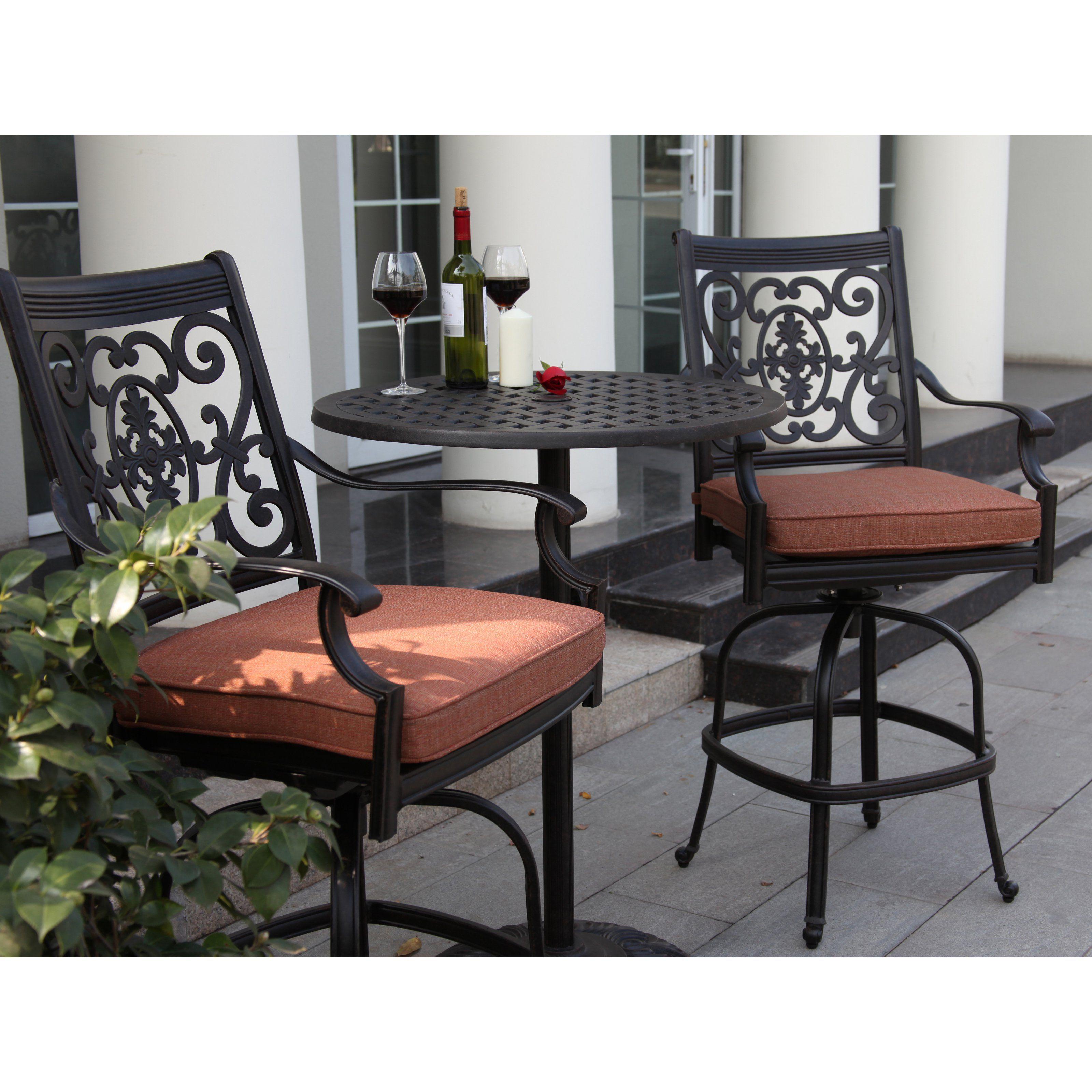 Outdoor darlee st cruz cast aluminum 3 piece round pedestal bar height patio bistro set dl101 3pc 30cj