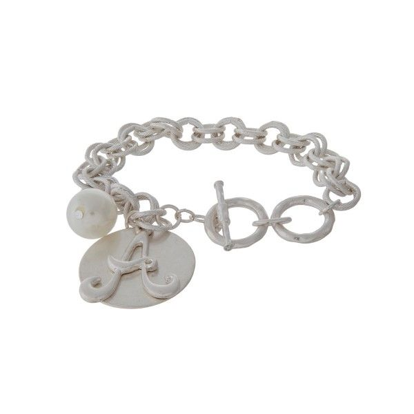 49676fcf3096e4 Wholesale silver toggle bracelet script initial pearl bead charm ...