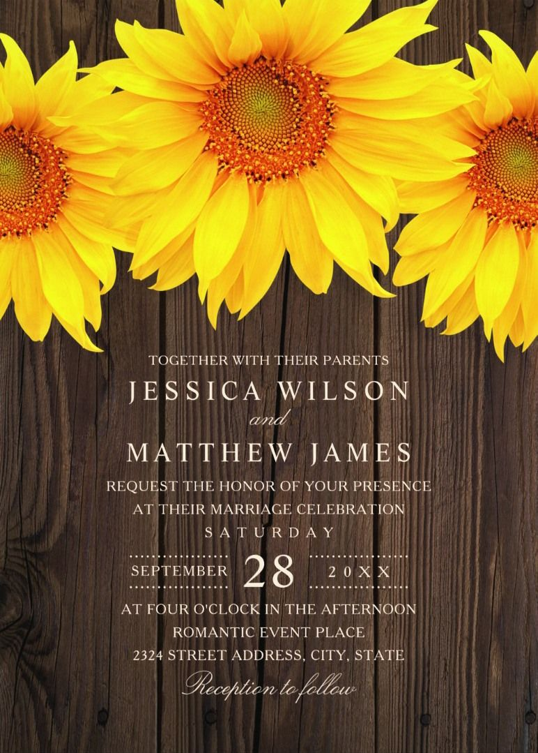 sunflower wedding invitations printable%0A Best Vintage Rustic Sunflower Wedding Invitations Creative Country Invite