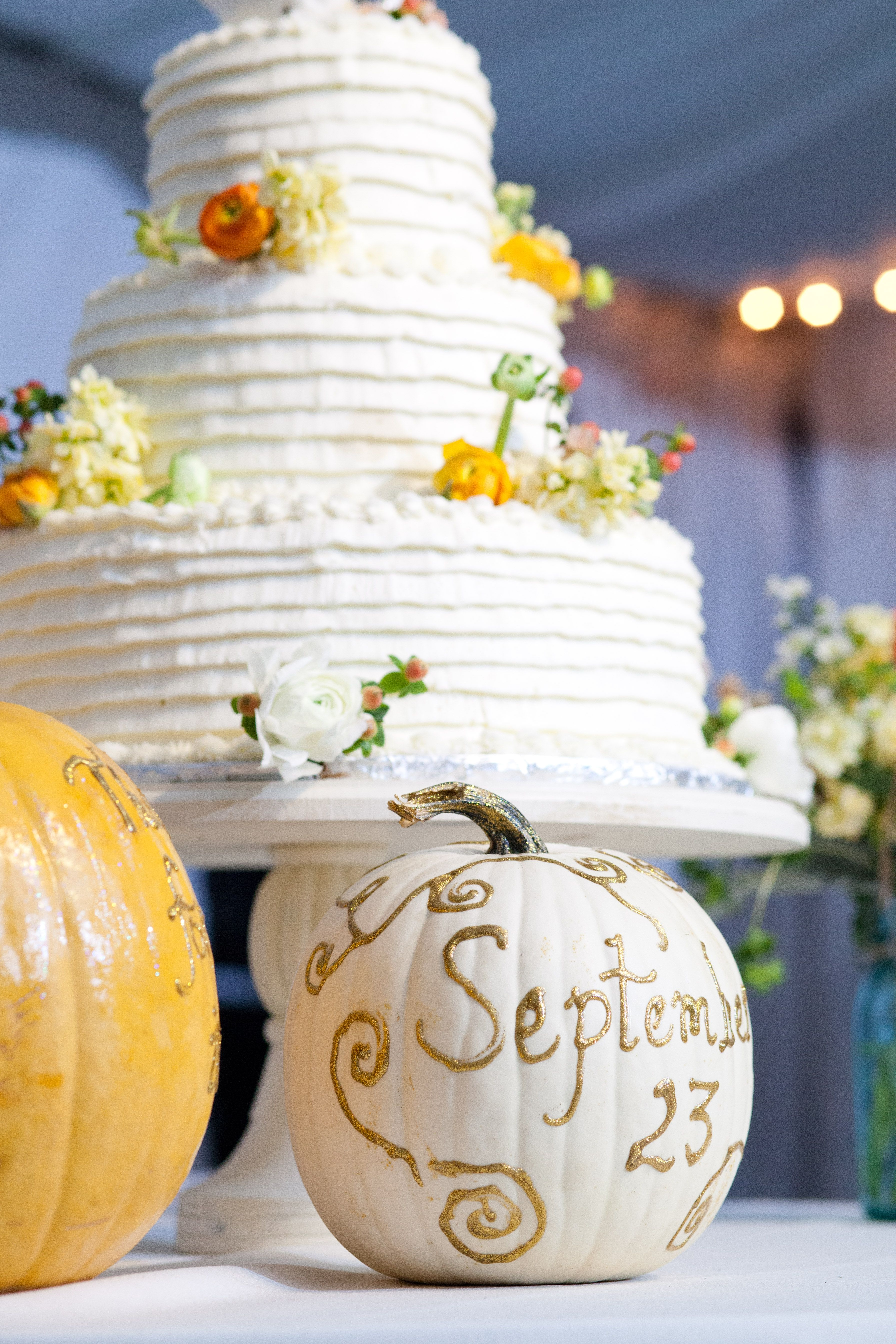 Vintage outdoor wedding, tent decor, pumpkins, white and yellow ...