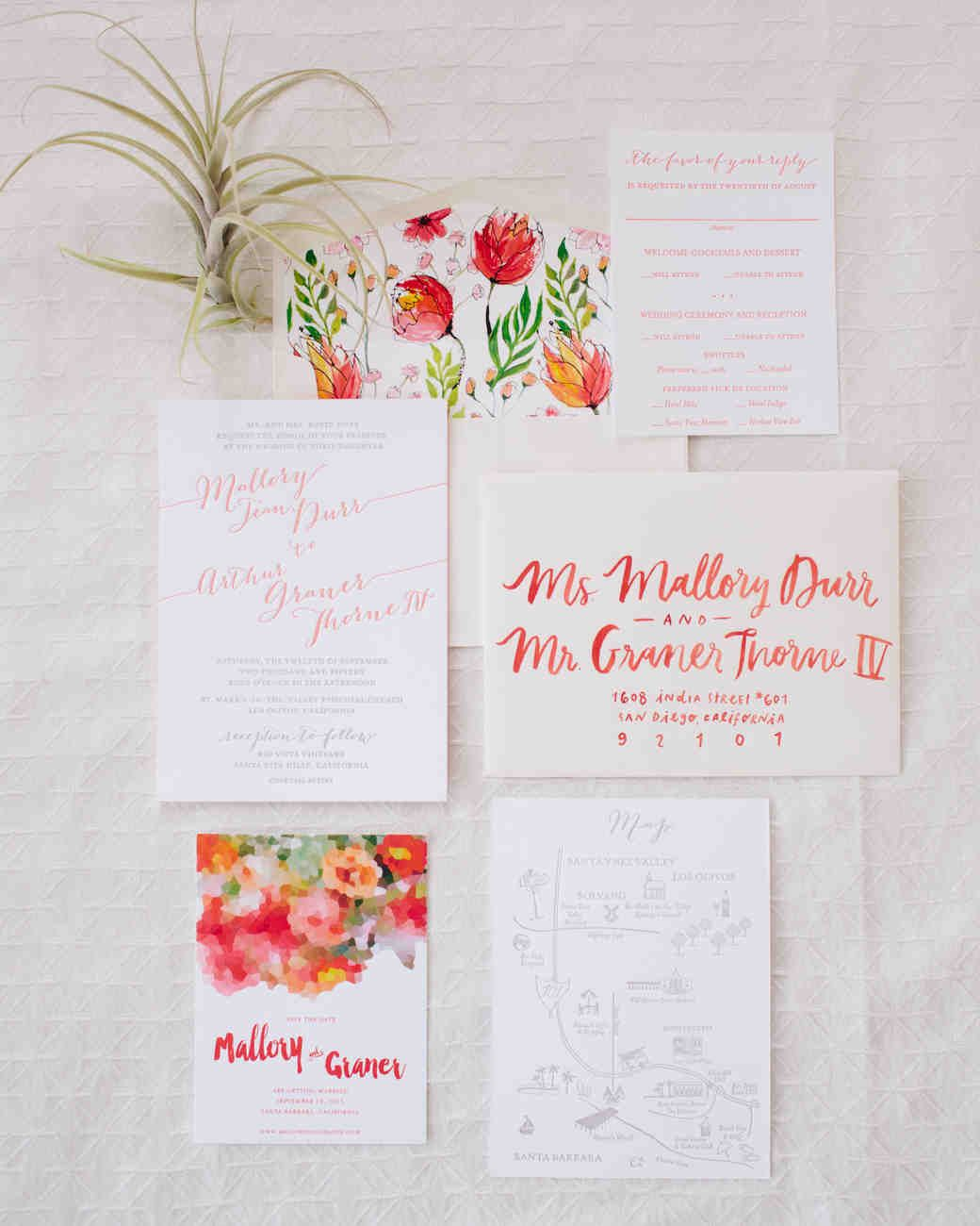 White wedding invitations with coral lettering and bright coral ...