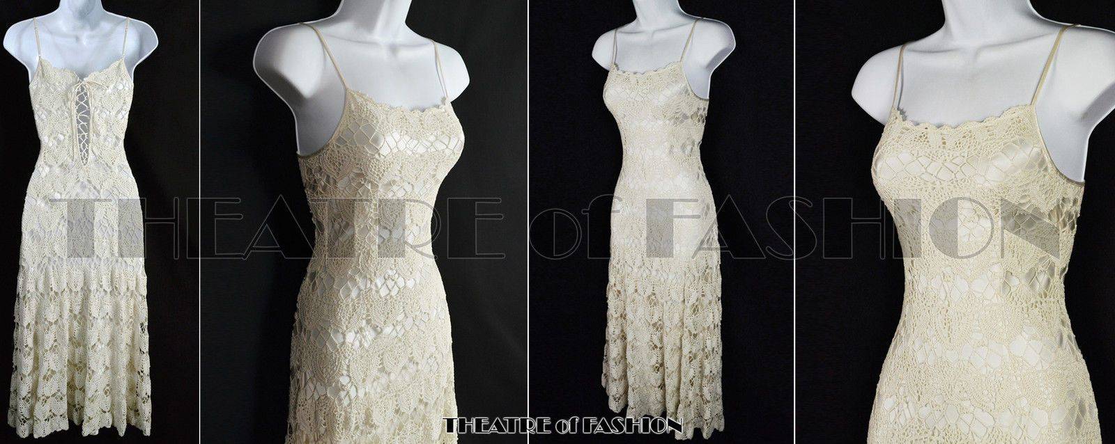 Vintage lace dress wedding crochet corset silk s boho s