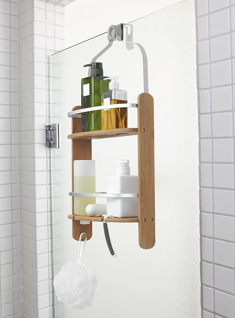 Bamboo shower caddy | Bathroom accessories, Hardware and Shelves
