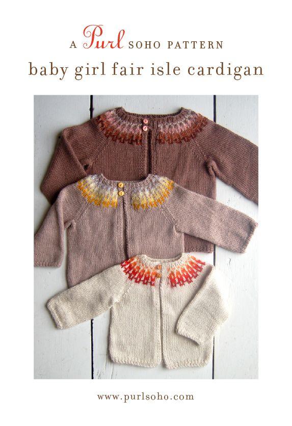 purl soho | products | item | baby girl fair isle cardigan (purl ...