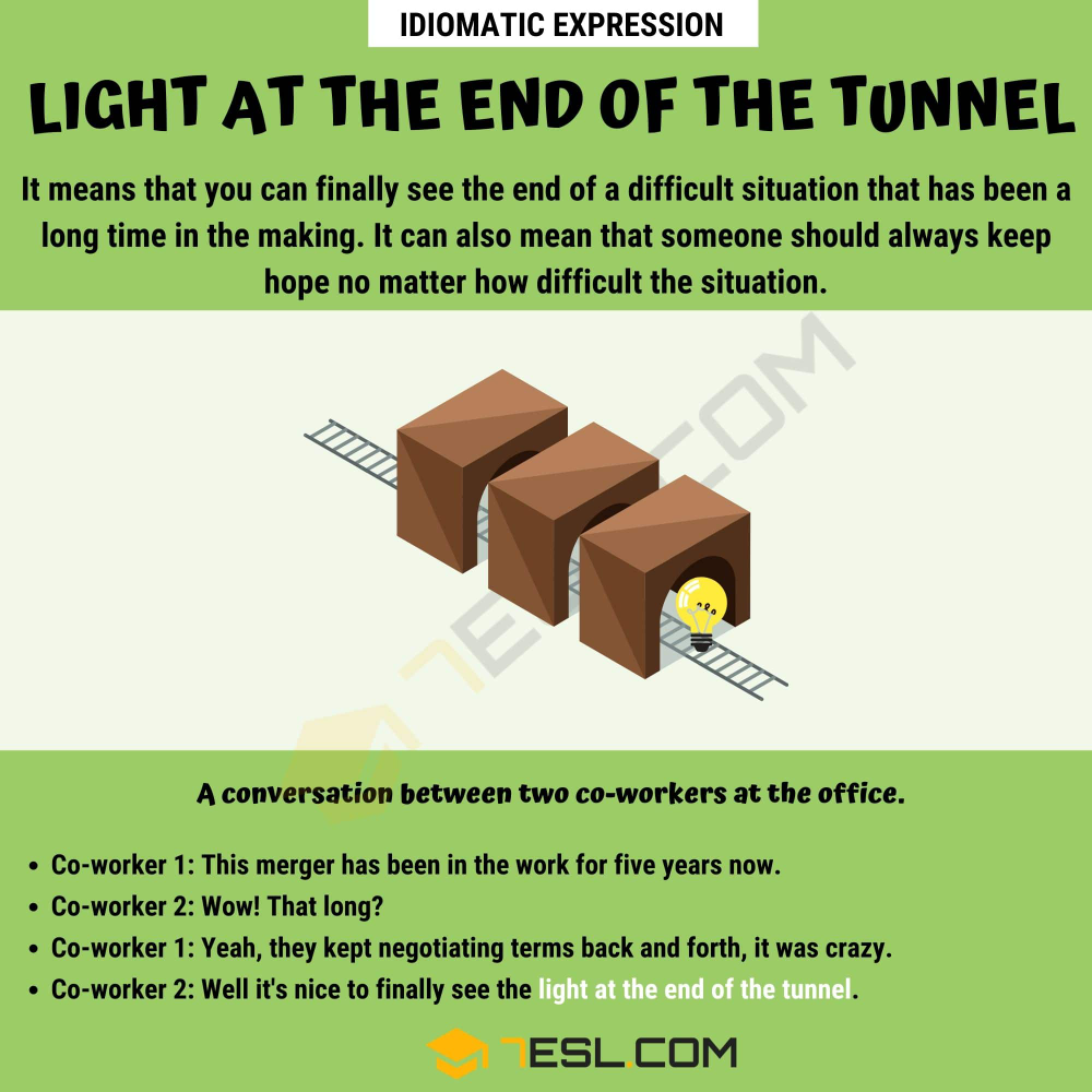Light At The End Of The Tunnel Meaning With Helpful Examples 7 E S L Other Ways To Say Idiomatic Expressions Idioms