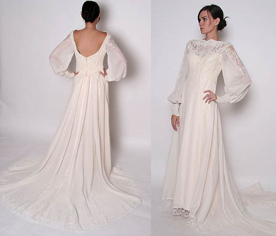 Vintage 70s Priscilla of Boston Wedding Dress with train // Bridal ...