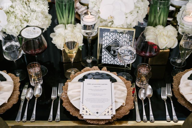 Art Deco Wedding Inspiration Black And Gold Table Decor Top Ideas