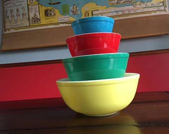 Vintage Pyrex Nesting Bowl Set Primary Colors Mid Century Awesome ...