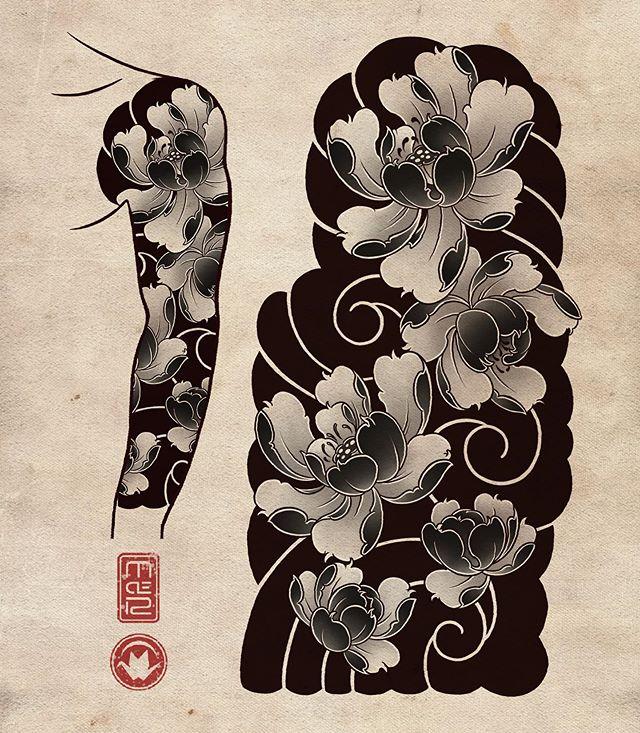 """Roma M De's Instagram profile post: """"🌸🖖 #tattoo #tattoos #tat #ink #japanesetattoo #design #drawing #irezumicollective #asian_inkandart #ipadpro #peonytattoo #ipadprotattooteam…"""""""