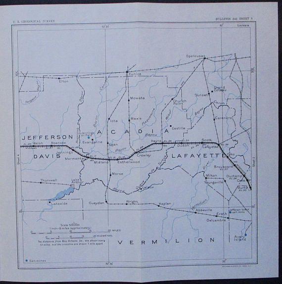 1933 Lafayette Parish La Vermilion Acadia And Jefferson Davis Parish Louisiana Antique Original Railroad Map Southern Pacific Lines Map Louisiana Antique Map