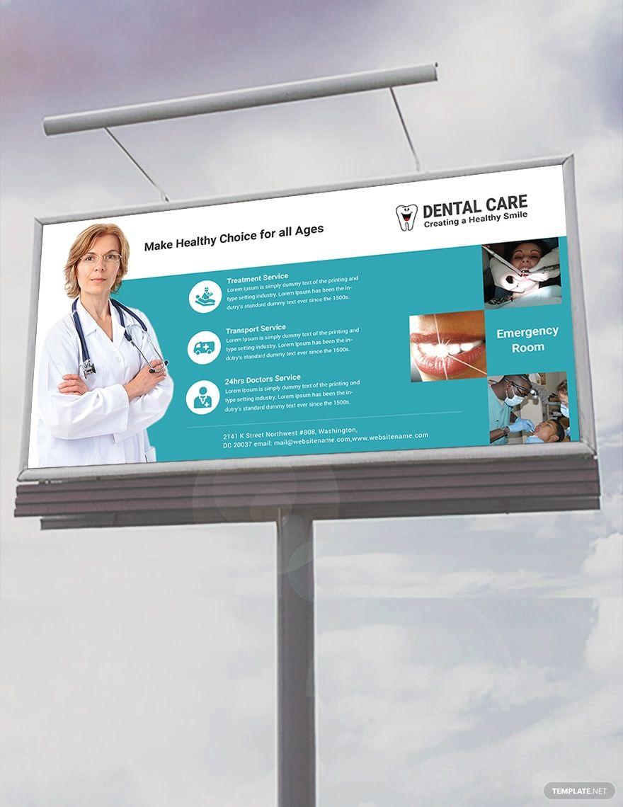 Dental care billboard template free psd illustrator