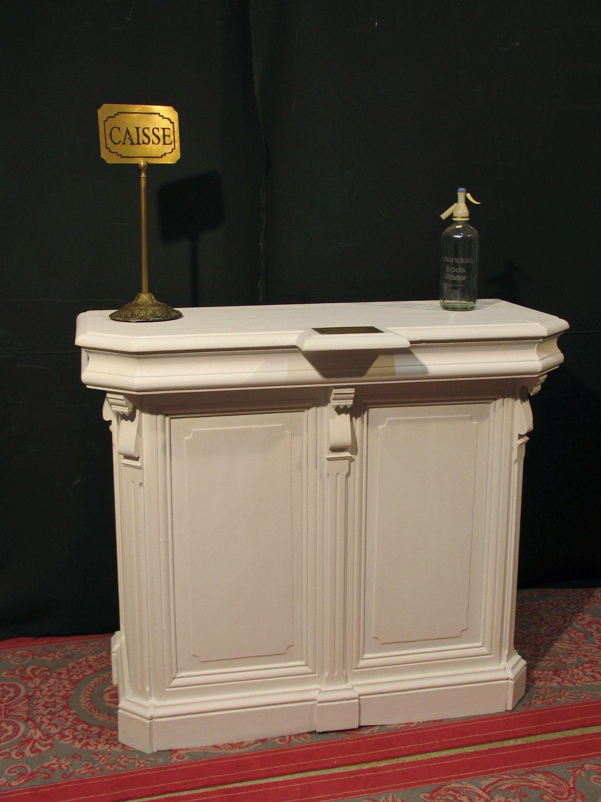 """Ancien ptoir Caisse """" 1900 """" EN Bois Patiné Blanc BAR Meuble"""