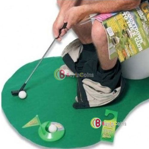 Novelty Toilet Time Game Golf Putt Set Mat Practice Potty Putter Bathroom Toy -- BuyinCoins.com