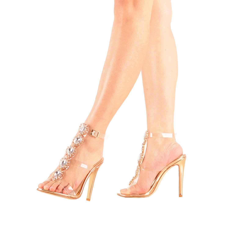 54857d8830 Amazon.com | onlymaker Womens Ankle Strap Buckle Cutout Gem Clear ...