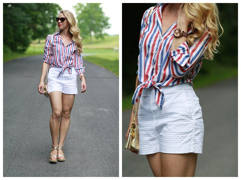 Patriotic Style: red white and blue striped button down tied up ...