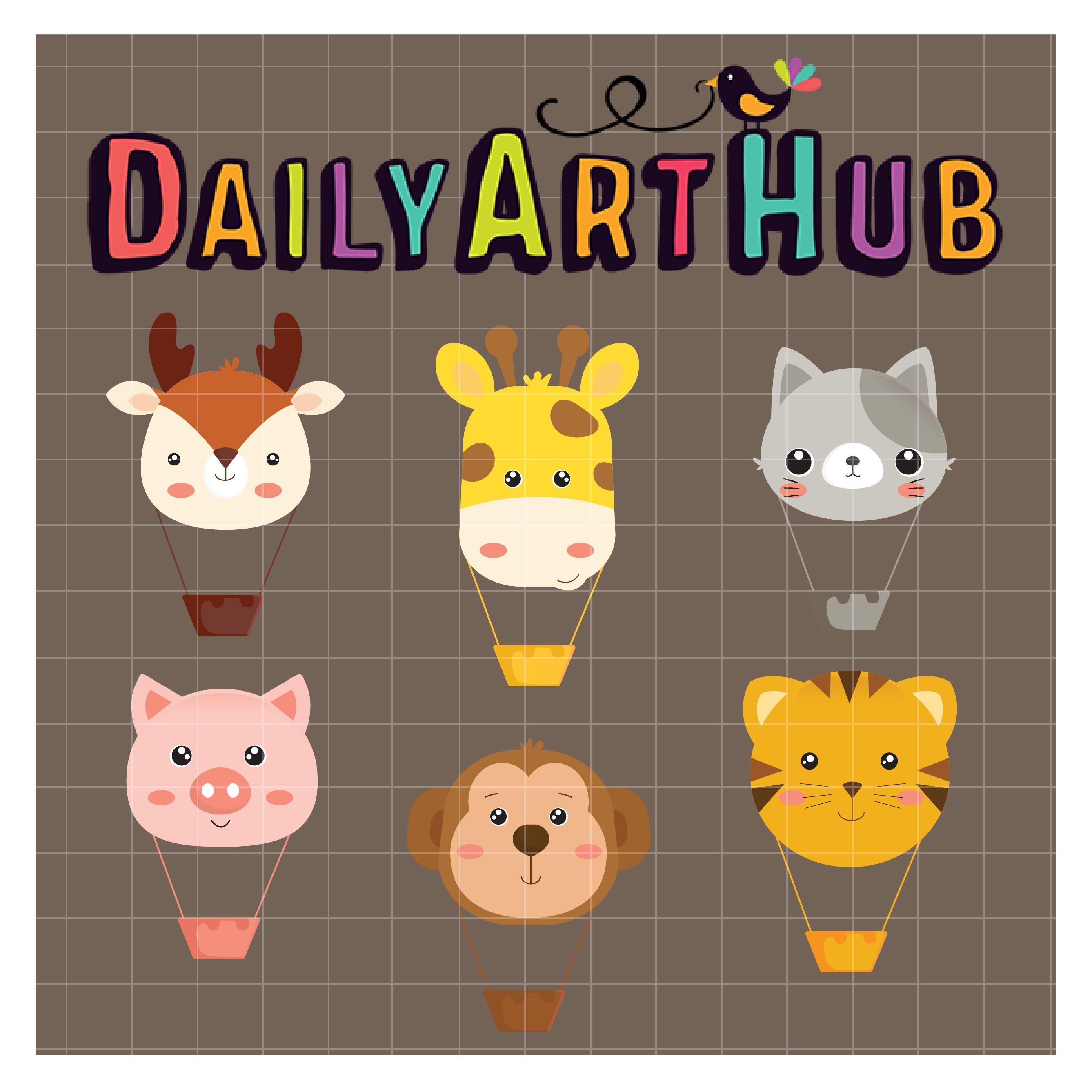 Hot Air Balloons Animals Clip Art Set Daily Art Hub Free Clip Art Everyday Animals Clip Art Balloon Animals Art Hub