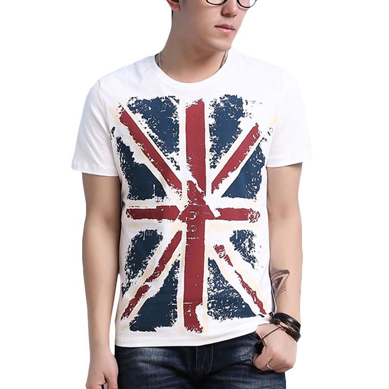 df21f2ab073 England Style UK Flag Print T Shirt Men Brand Geometric Tees Mens Hip Hop  High Crew