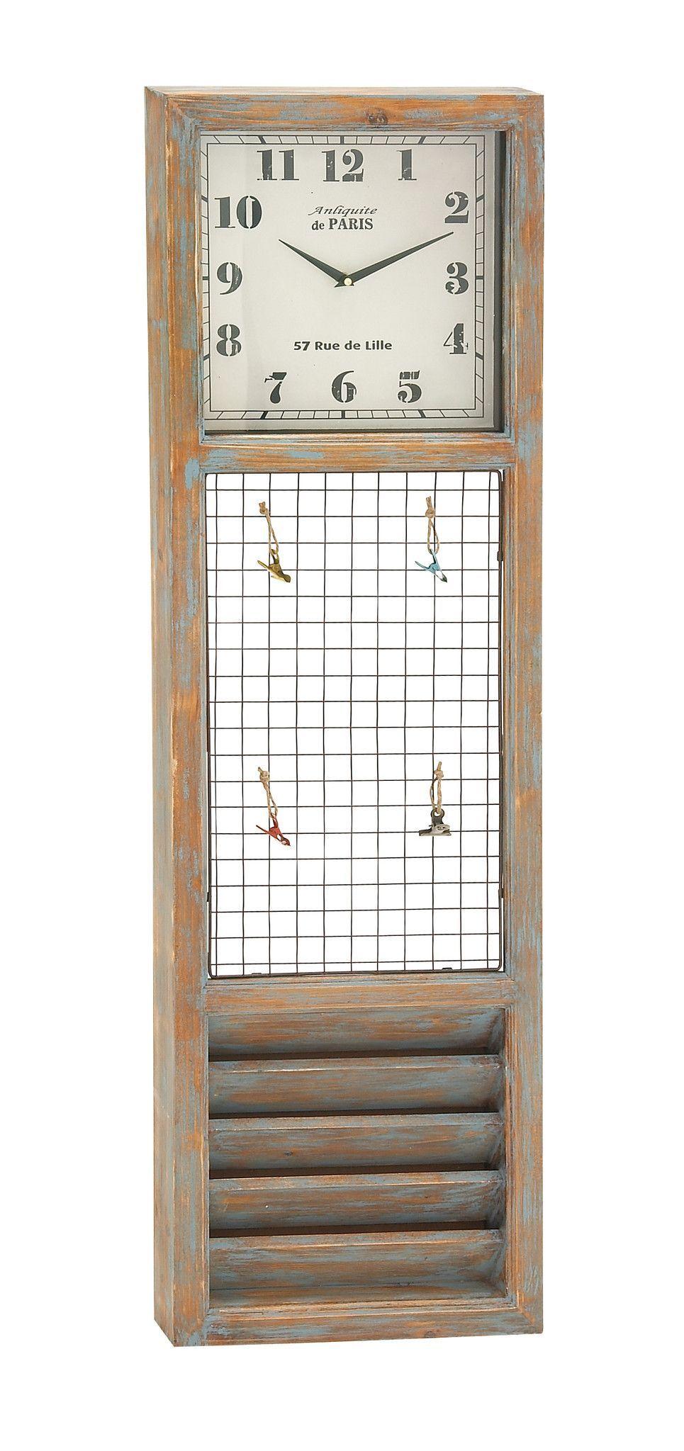 Simply Distinctive Wood Metal Wall Memo Clock