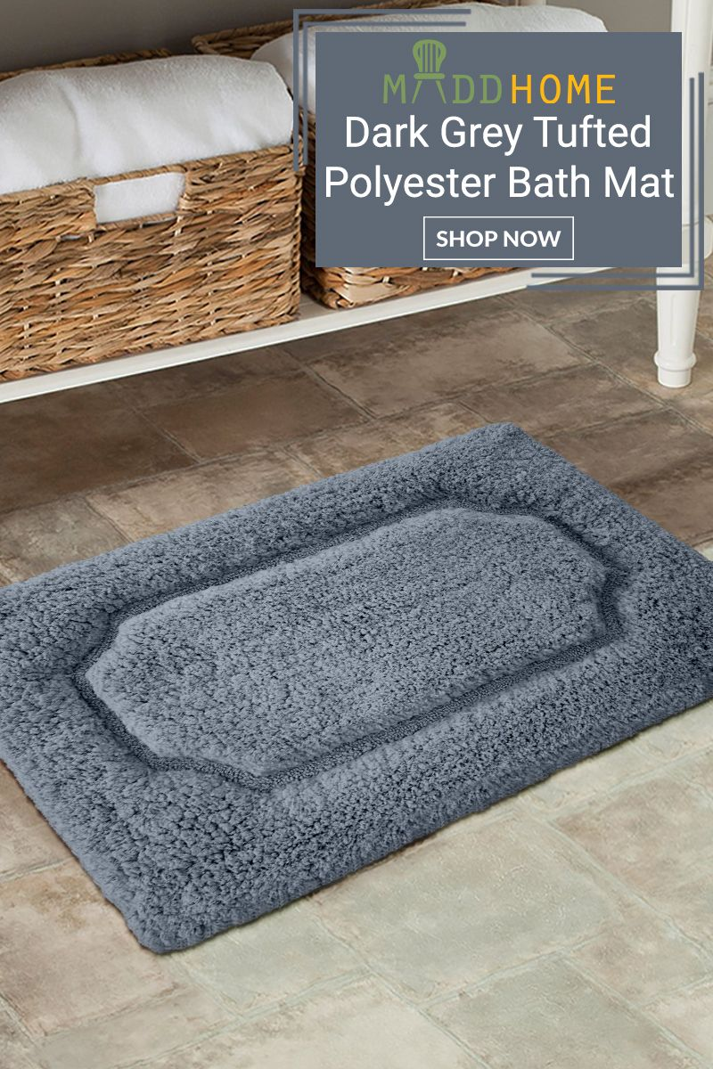 Dark Grey Tufted Polyester Racetrack Bath Mat Bath Rugs Bath