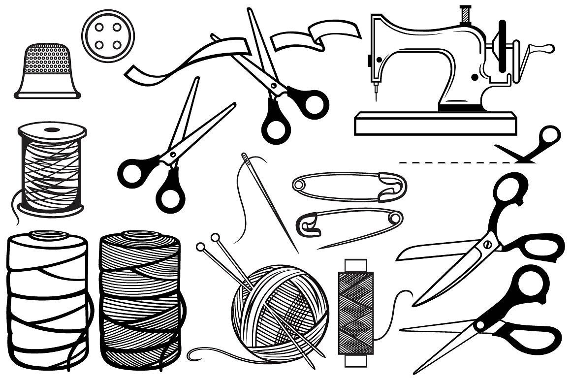 Sewing Items Balls Needles Roll Sewing