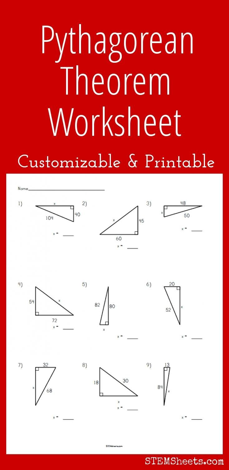 Pythagorean Theorem Worksheet  Customizable And Printable  Math
