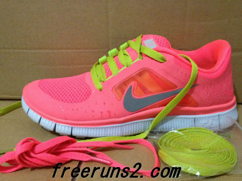 premium selection e4dc7 107ac Womens Nike Free Run 3 Hot Punch Reflective Silver Sol Volt Yellowgreen  Lace New Nike Frees 2013 Shoes