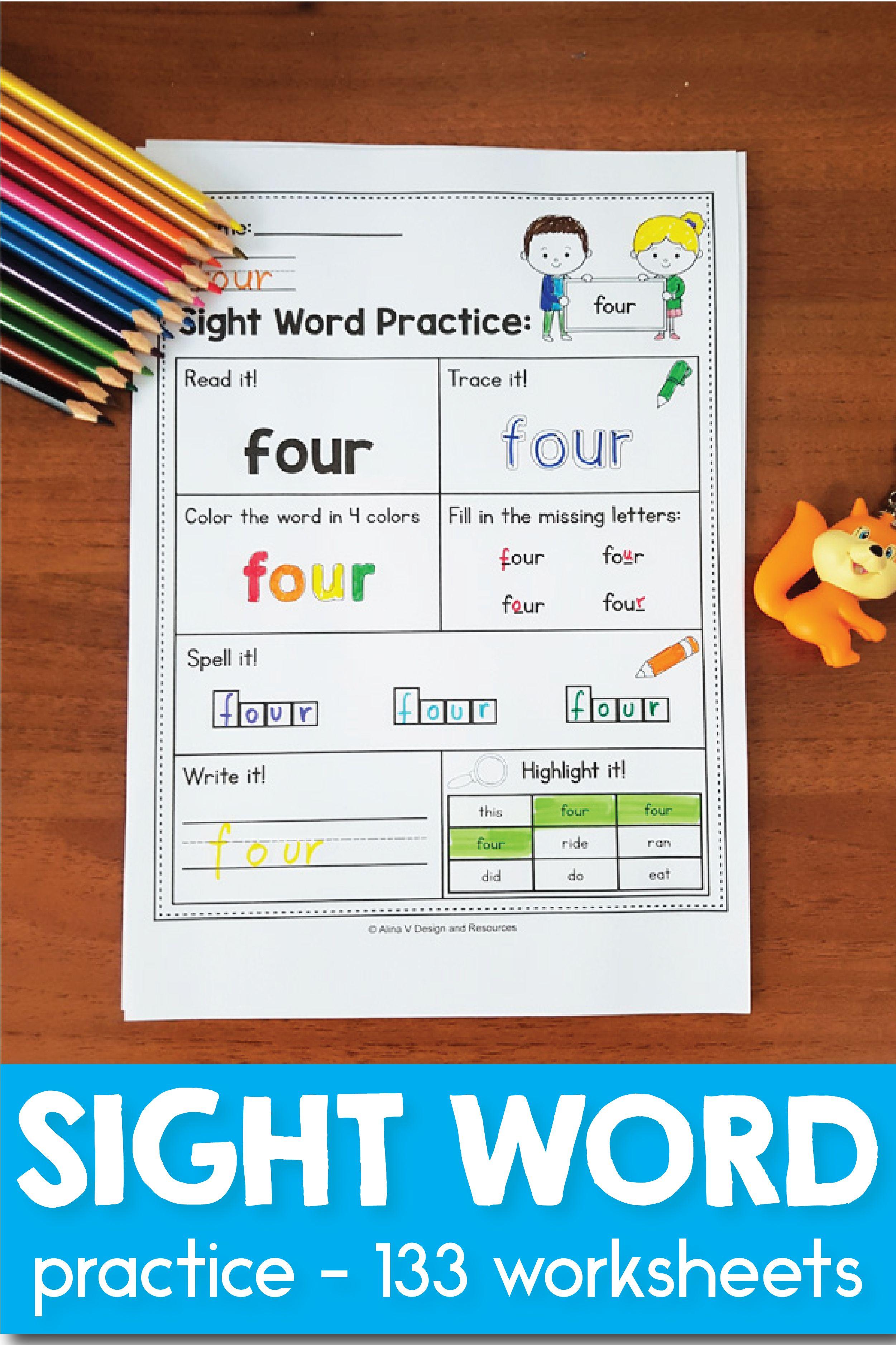 Sight Word Practice For Preschool Kindergarten First