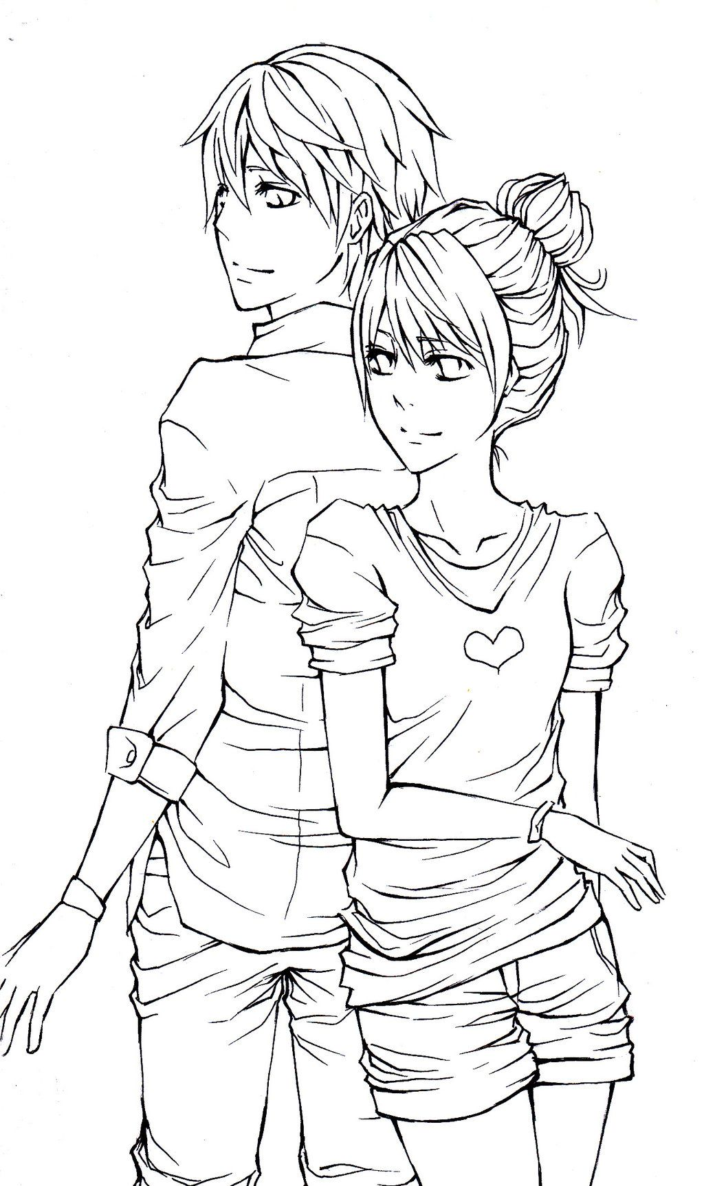 Anime Couple Line Art Drawings